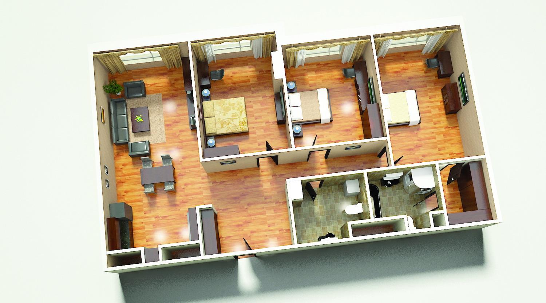 3д схема 3х комнатной квартиры