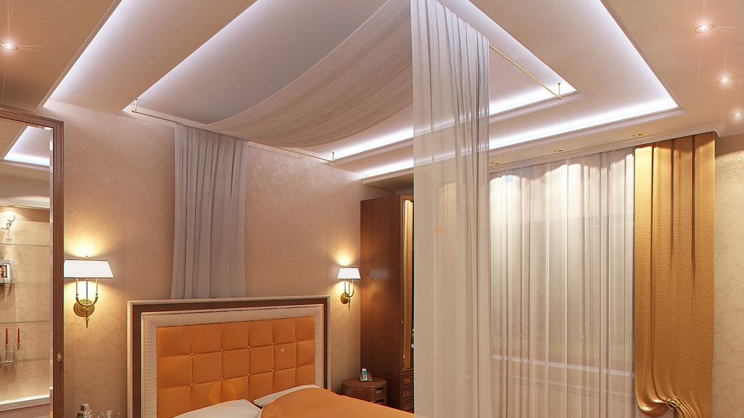 Дизайн-спальни с натяжным потолком